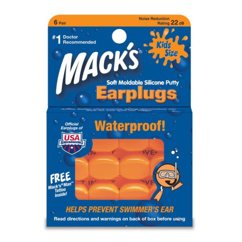 Детские беруши Waterproof Mack's Kids size Silicone (6 пар)