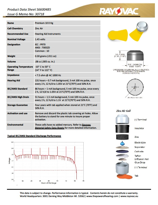 rayovac 312 datasheet