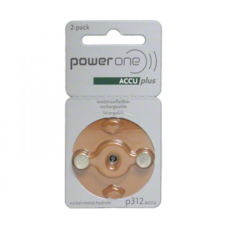 Аккумуляторы для слуховых аппаратов Power One Accu Plus p312accu Ni-MH, 2 шт.