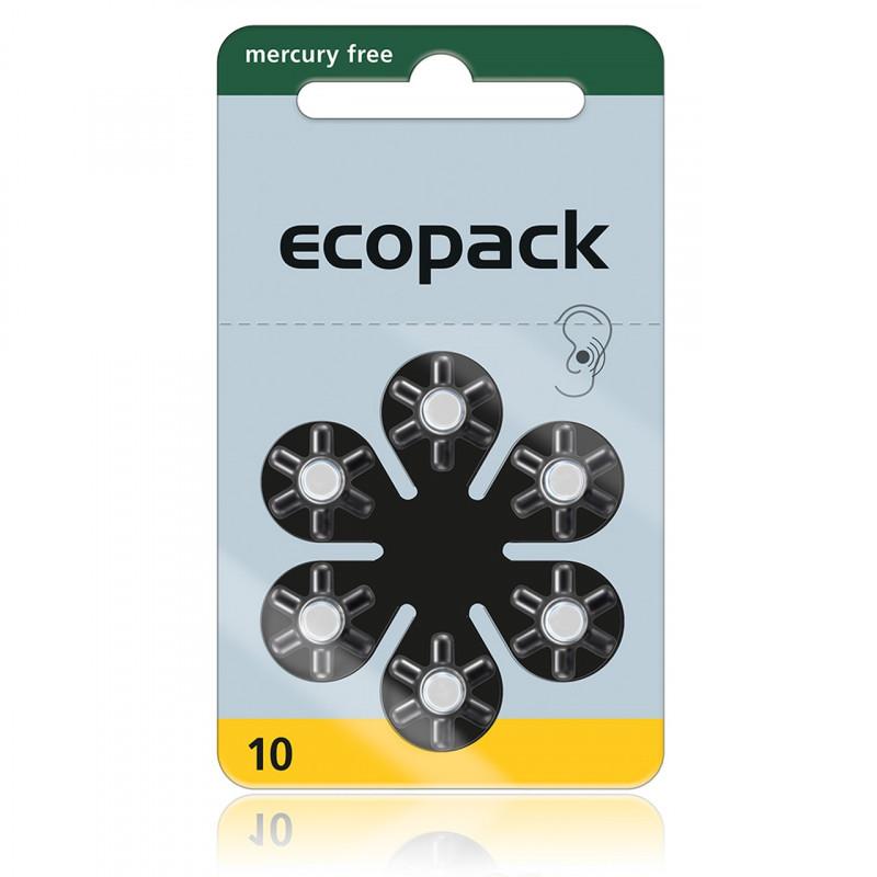 Батарейки для слуховых аппаратов Ecopack 10, 6 шт.
