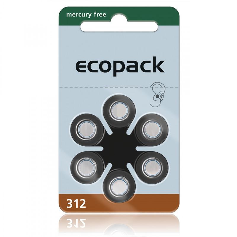 Батарейки для слуховых аппаратов Ecopack 312, 6 шт.