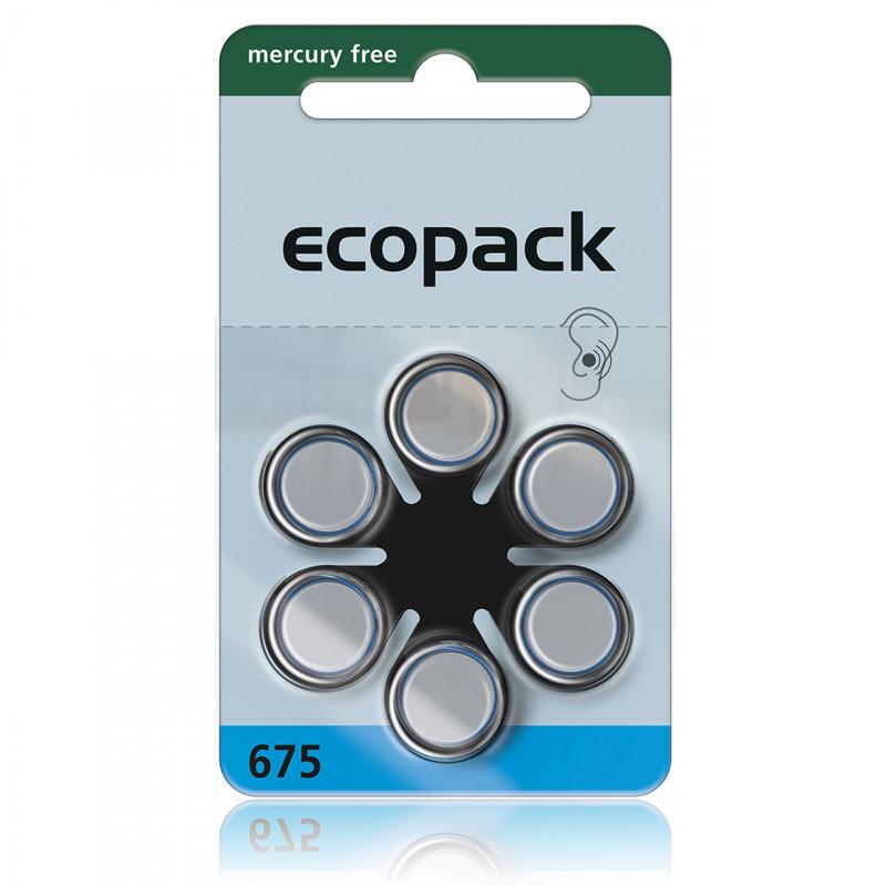 Батарейки для слуховых аппаратов Ecopack 675, 6 шт.
