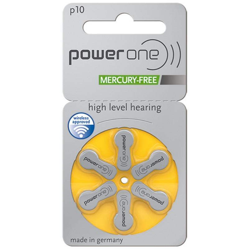 Батарейки для слуховых аппаратов Power One 10, 6 шт.