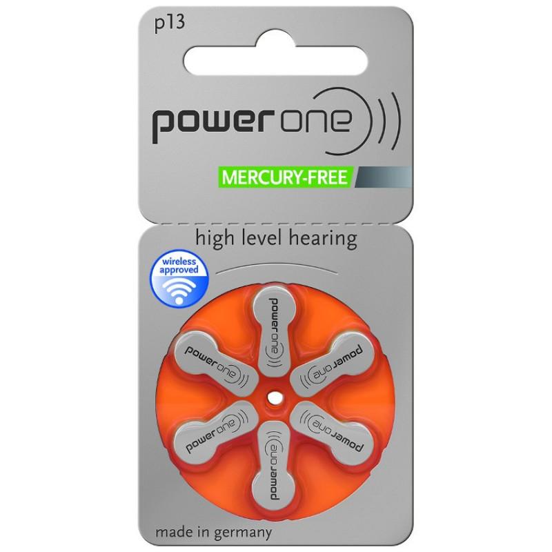 Батарейки для слуховых аппаратов Power One 13, 6 шт.