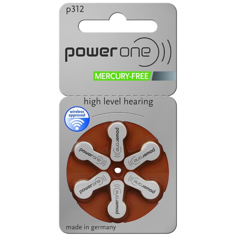 Батарейки для слуховых аппаратов Power One 312, 6 шт.