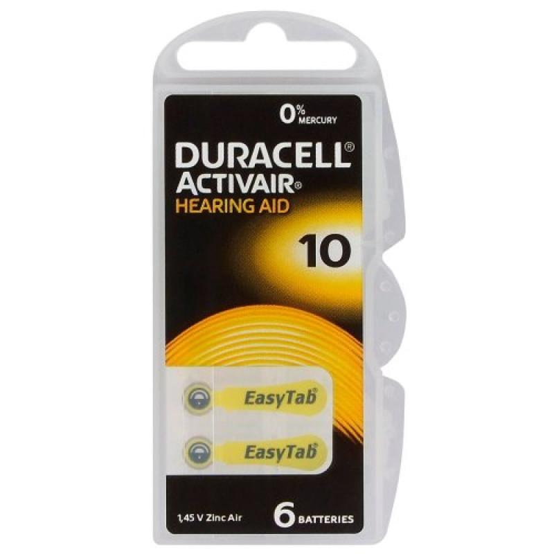 Батарейки для слуховых аппаратов Duracell Activair 10, 6 шт.